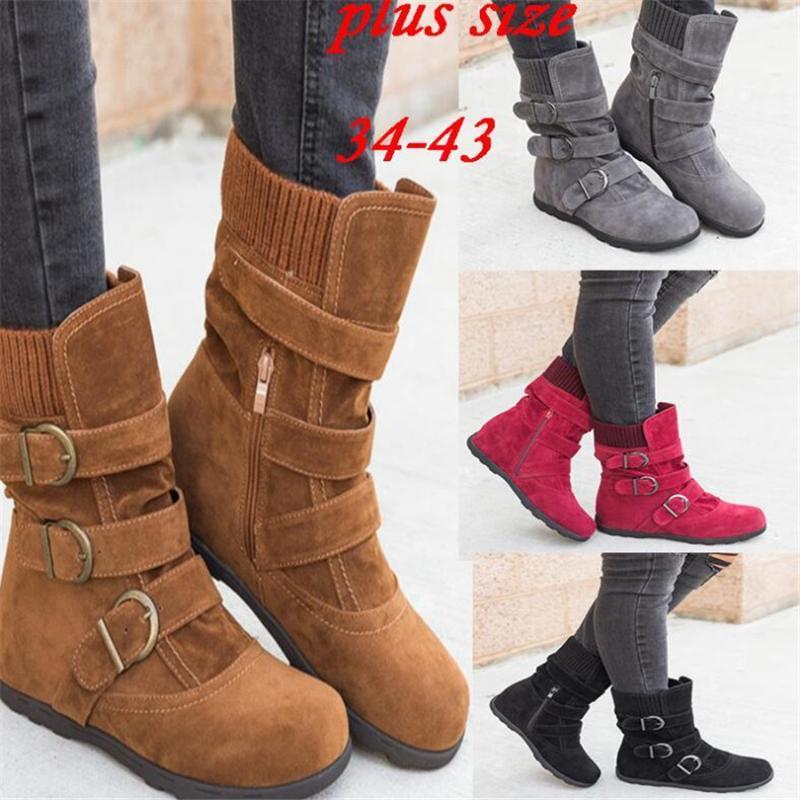 Scarpe Stivali donna autunno delle nuove donne di peluche calda casuale Snow Boots Inverno Suede fibbia femminile cerniera Calzature Botas Muje