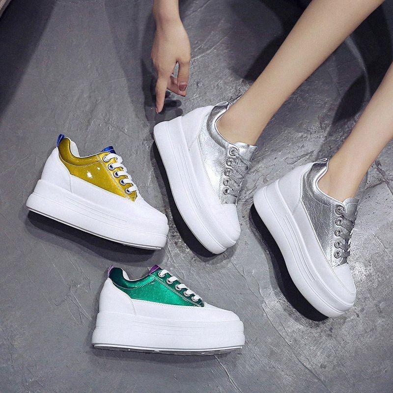 Femmes Sneaker Chaussures de plate-forme en cuir 2019 talon caché Automne Printemps Femme Chunky Sneakers Femme Plate-forme Chaussures espadrille Srvd #