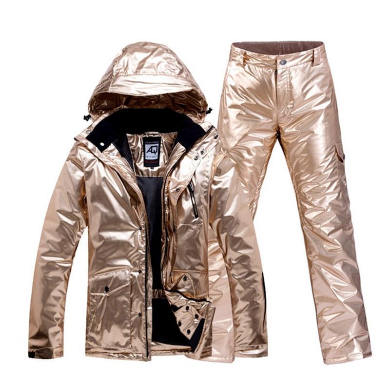 Gold Ski Suit Men Women Snowsuit Couple Winter Outdoor Snowboard Clothing Waterproof Warm Thick Ski Jacket Pant Set