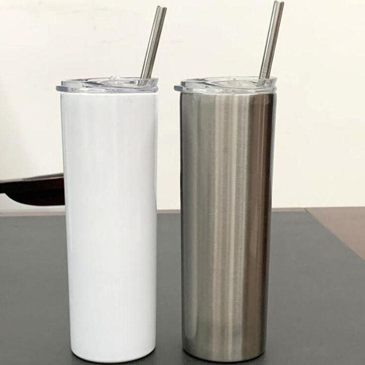 20 Unzen Sublimation dünne Tumbler Blank Edelstahl Tumbler DIY Gerade Cups Vacuum Insulated 600ml Auto Tumbler Kaffeetassen FWC2301