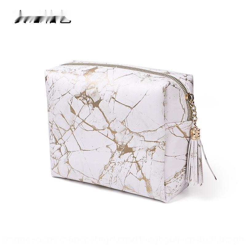New golden marble PU portable large capacity marble Storage bag cosmetic bagcosmetic storage bag rjBIs