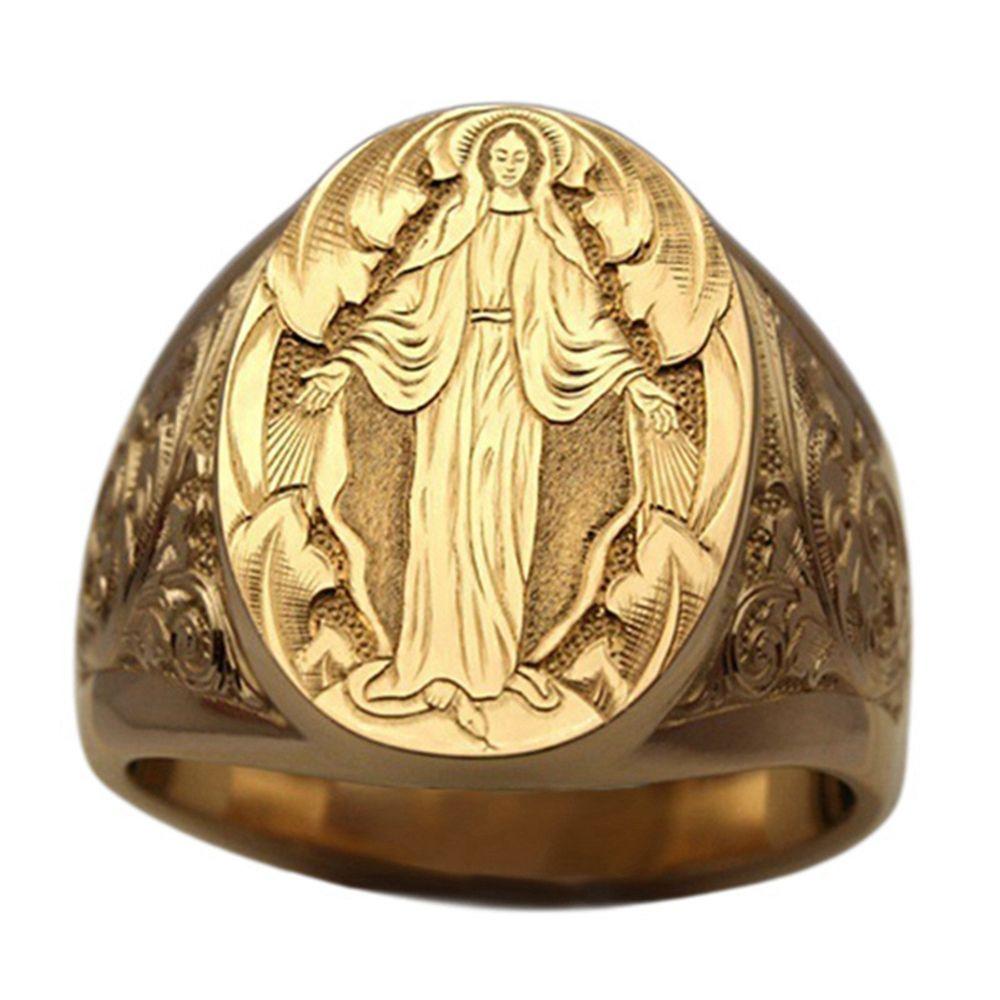 5 шт. Винтаж ручной гравированной девственной марии религиозные кольца Европейская и американская мода мужские женские кольца G-124