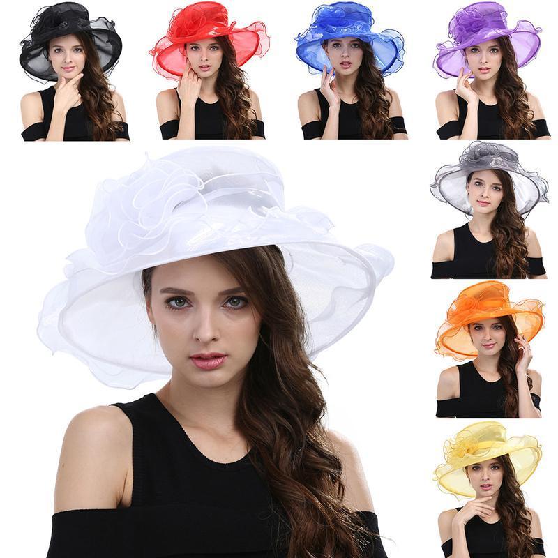 Boda del borde ancho de la nueva vendimia de las mujeres elegantes sombreros ocasionales Estantes sombreros de Sun puré de sol al aire libre Actividad