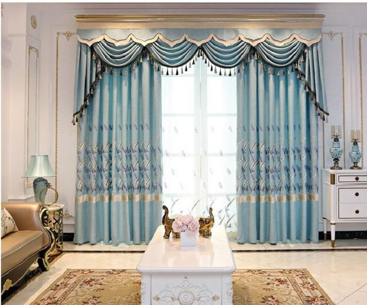 2020 hot venda Modern simples chenille bordado Estilo Europeu cortina de pano de cânhamo protegendo sala quarto cortina de produto acabado 080