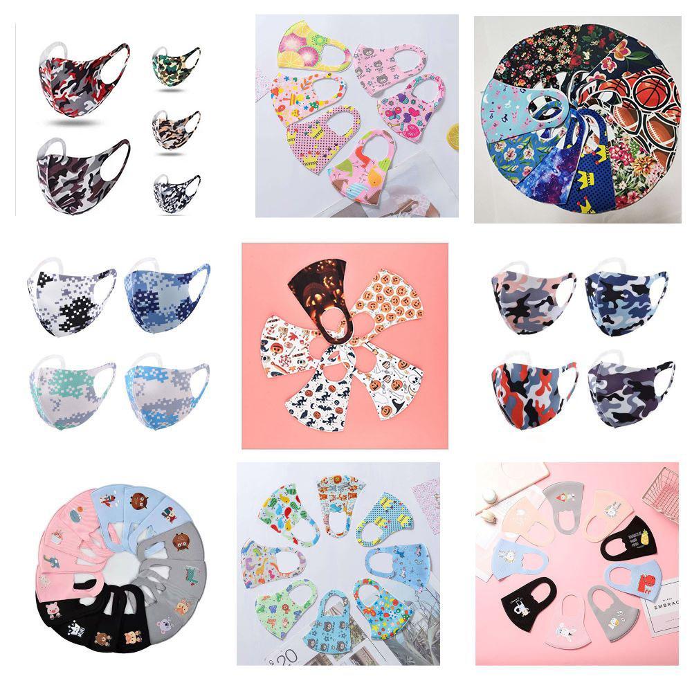 En stock Cartoon Face Design 3D Masque pour adultes enfants Cover Masque bouche masque soie glace Masques anti-bactérien lavable design réutilisable