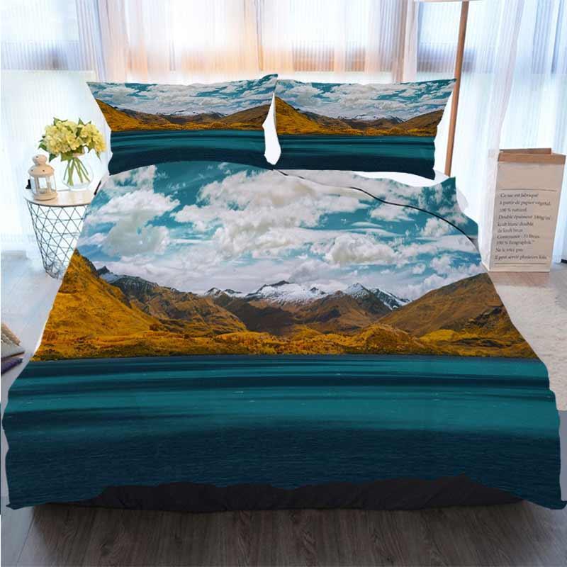 Cama 3 peça edredon cobrir Define Vista cénico do lago Wakatipu Nova Zelândia poliéster edredon cobre os conjuntos de cama de luxo
