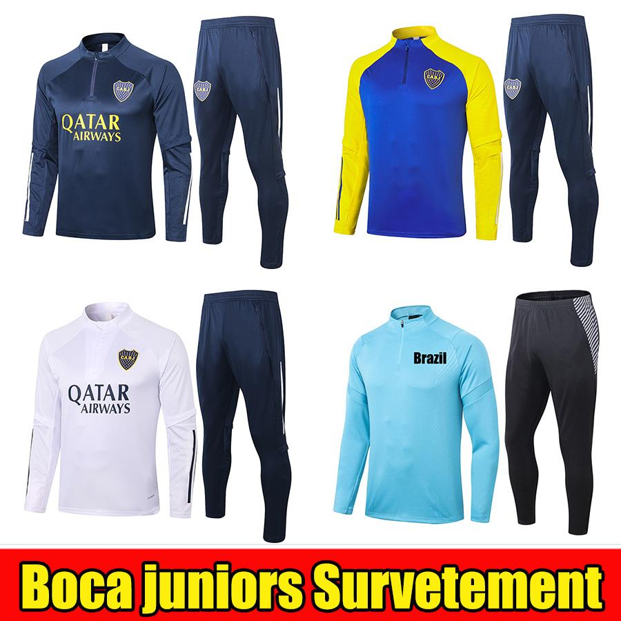 Boca Juniors 20 21 Giacche da calcio Tracksuit 2021 Tevez de Rossi Maradona Jogging Football Football Areational Suit Suit Suite Suite Tailandia Kit chandal