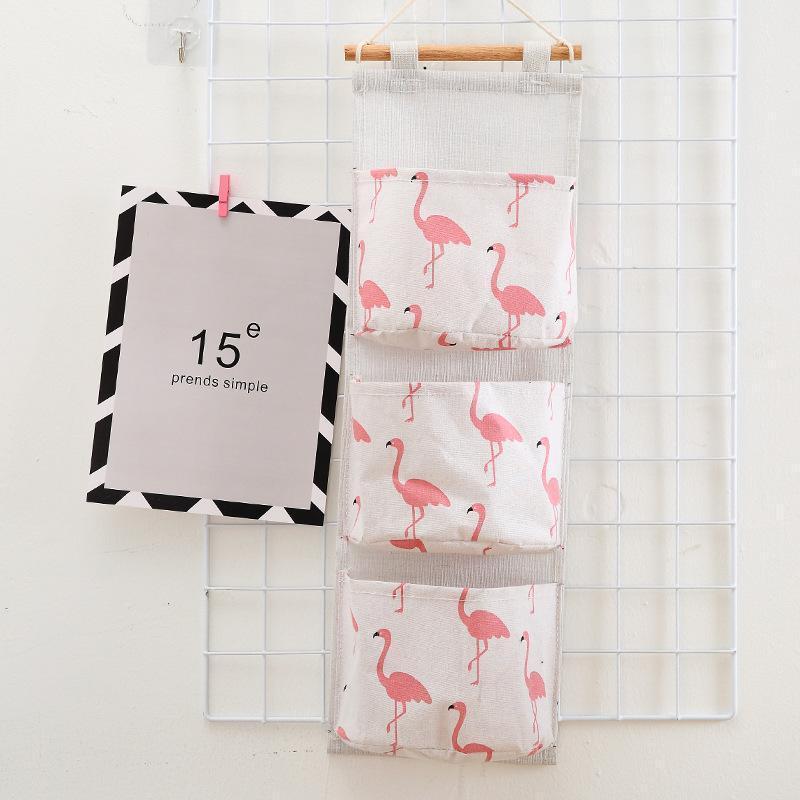 Hanging Dormitorio Tre parete Flamingo Hanging Fabric bagagli a più strati di casa Armadio Borsa porta del dormitorio Tasche parete camera da letto sqKd