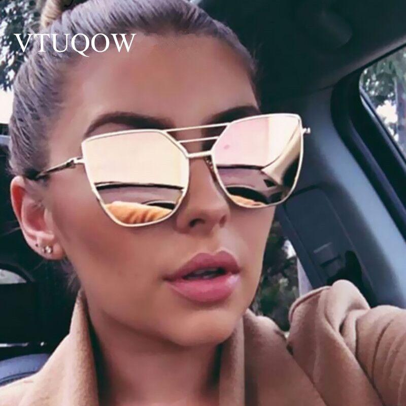 Yüksek Kaliteli Kedi Göz Güneş Kadınlar Marka Tasarımcısı Sürüş Yaz Güneş Gözlükleri Kadın Kadın Bayan Sunglass Ayna Vintage Retro Otwcj