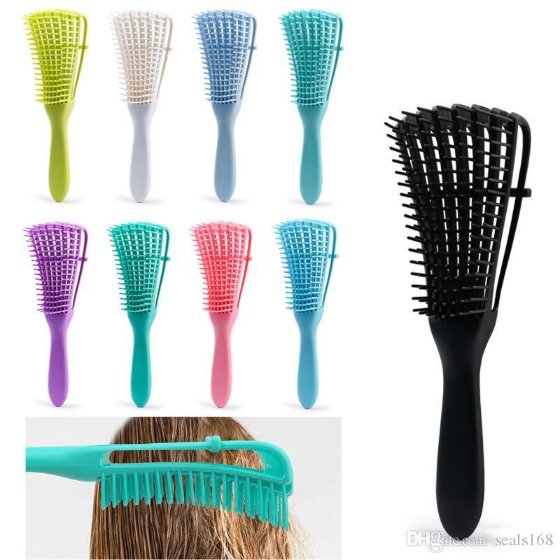 الشعر مشط تدليك متعدد الوظائف تصفيفة الشعر شون الأضلاع منفوش المطاط الأخطبوط مشط مشط الرئيسية مختلط اللون XD23932