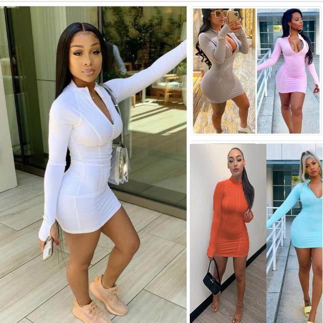 Le donne del mini vestito maglietta sexy Gonne Club Bodycon Zipper vestito stretto Stretch stand colletto a maniche lunghe VestMini Gonna 806