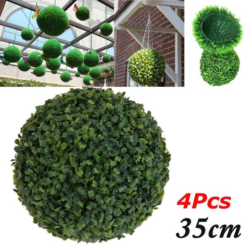 4 PCS 35 cm de la hoja del árbol de plástico Topiary efecto de la bola de la bola casera colgante de la decoración del jardín de plantas de boj Faux
