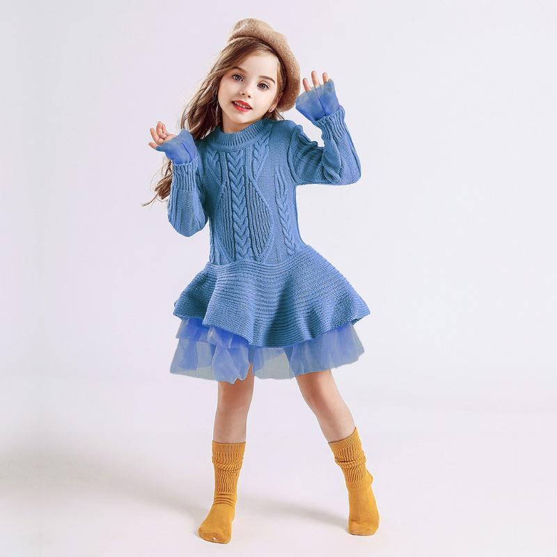Bebek Çocuk Kız Katı Tül Sıcak Triko Elbise Bebek Bebek Örgü Tığ Prenses Giydirme Kız Uzun Kollu Kış Moda