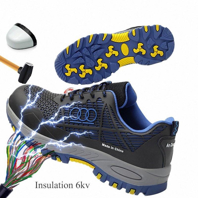 İzolasyon 6 kV Emniyet Ayakkabı Koruyucu Çelik burunlu Erkekler İş Güvenliği Çizme Yaz Nefes Yumuşak Ve Delinme Dayanıklı İş Boots Brown Bilek Bo fXUH #