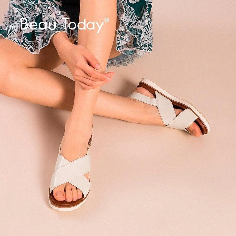 BeauToday Strand-Sandelholz-Frauen echte Kuh-Leder-Kreuz gebunden Top-Qualität Damen Handgemachter Sommer-beiläufige Schuh-32109 1dmd #