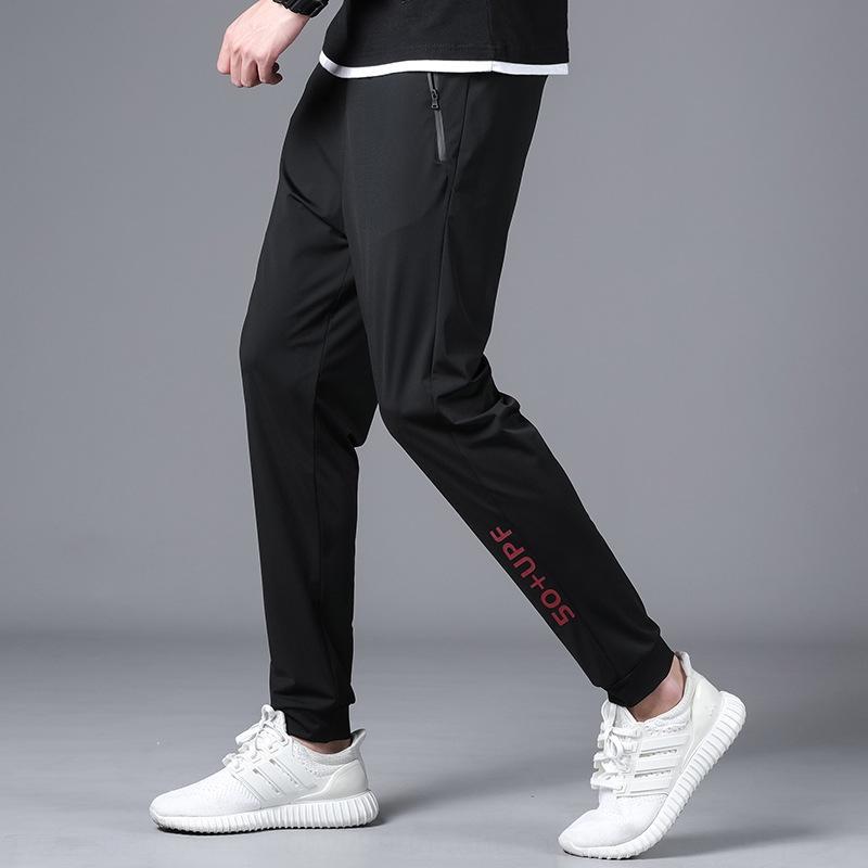 Летний лед шелковых случайных мужской случайной тонкой лодыжки мужских свободные брюки больших размеров печать быстросохнущих брюк Foihp