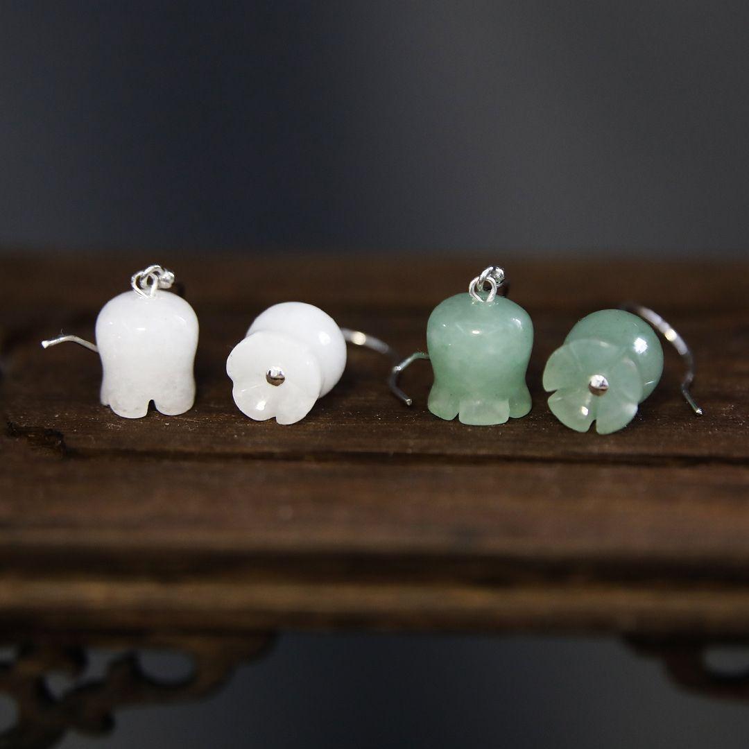 "NzqvP \ Valley eardrop kısa mizaç Milli Jad ait S925 gümüş doğal beyaz Dongling Jade Lily ""Eardrop Beyaz Vadisi \ Lily"""