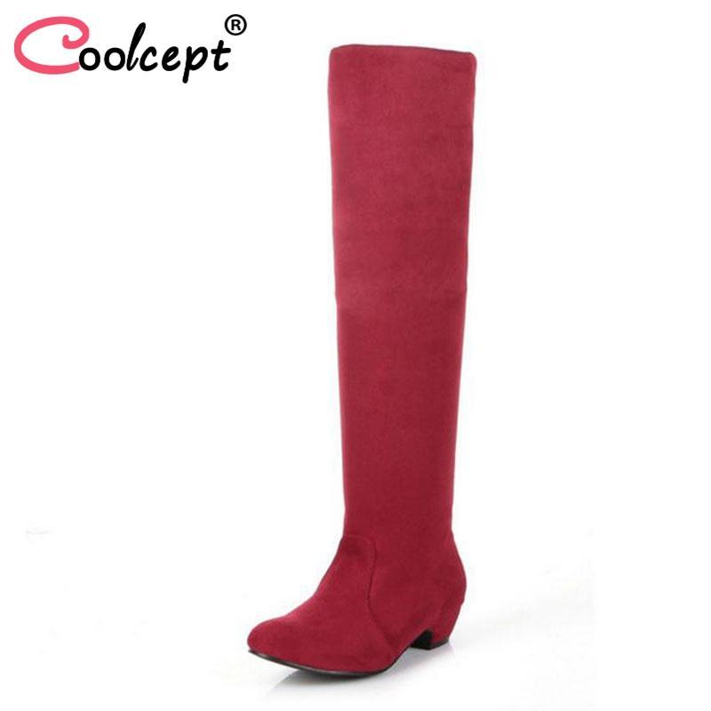 Zapatos de piel Coolcept Oficina atractivo de señora Rodilla Botas Flock calientes invierno de las mujeres Tacones altos Botas partido del club de la manera del tamaño de los zapatos 34-43