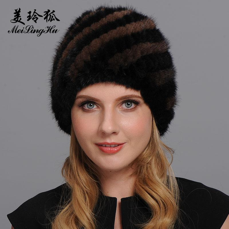 Natural real Fur Cap Mulheres Chapéus de Inverno New 2020 Fur Gorro Mulheres abacaxi Hat Female inverno quente Hat Genuine