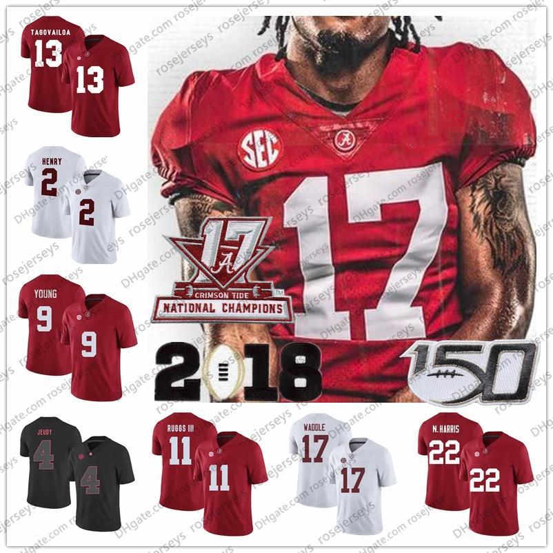 Personalizado Alabama carmesim maré futebol javon baker devona smith jaylen waddle jase mcclellan homens garoto 150th campeonato 2020 jersey