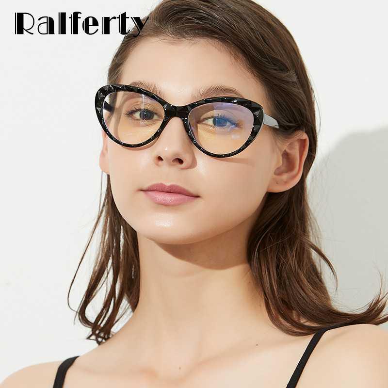 Ralferty Grau Gözlük Göz Reçete Optik Oculos Anti Mavi Kedi Gözlük Kadınlar Çerçeve Çerçeve De Gözlük Feminino W5804 Faash