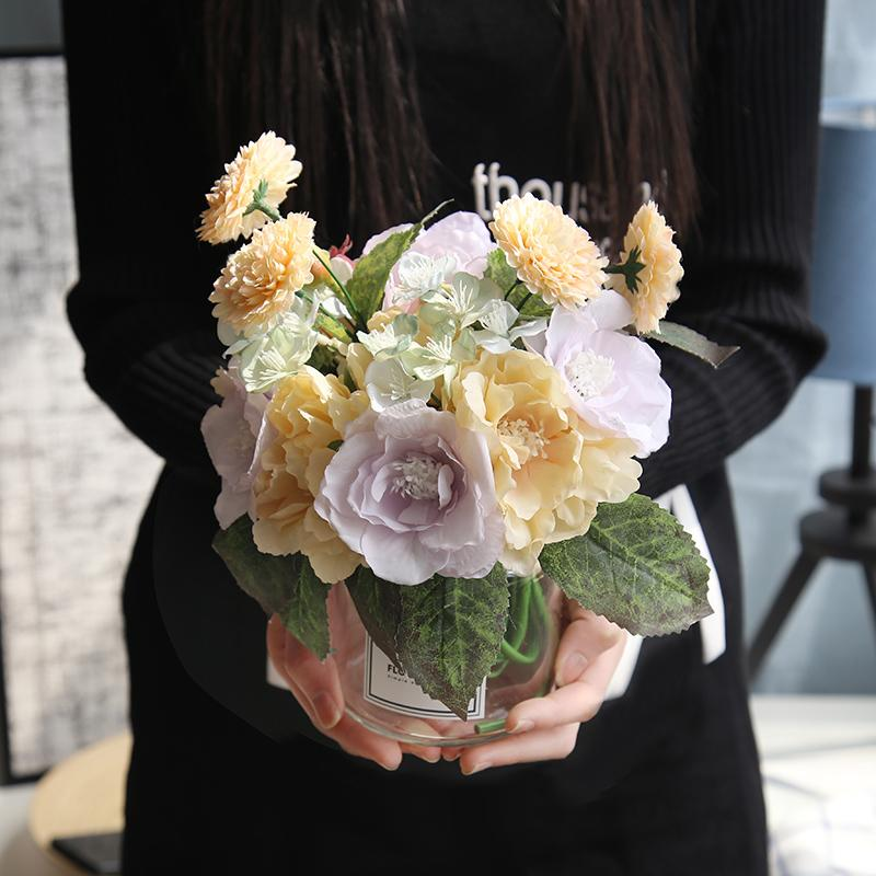 30cm Silk roses Bride bouquet for wedding Holding Flower Road Lead Flower Wall home decoration fake plants artificial