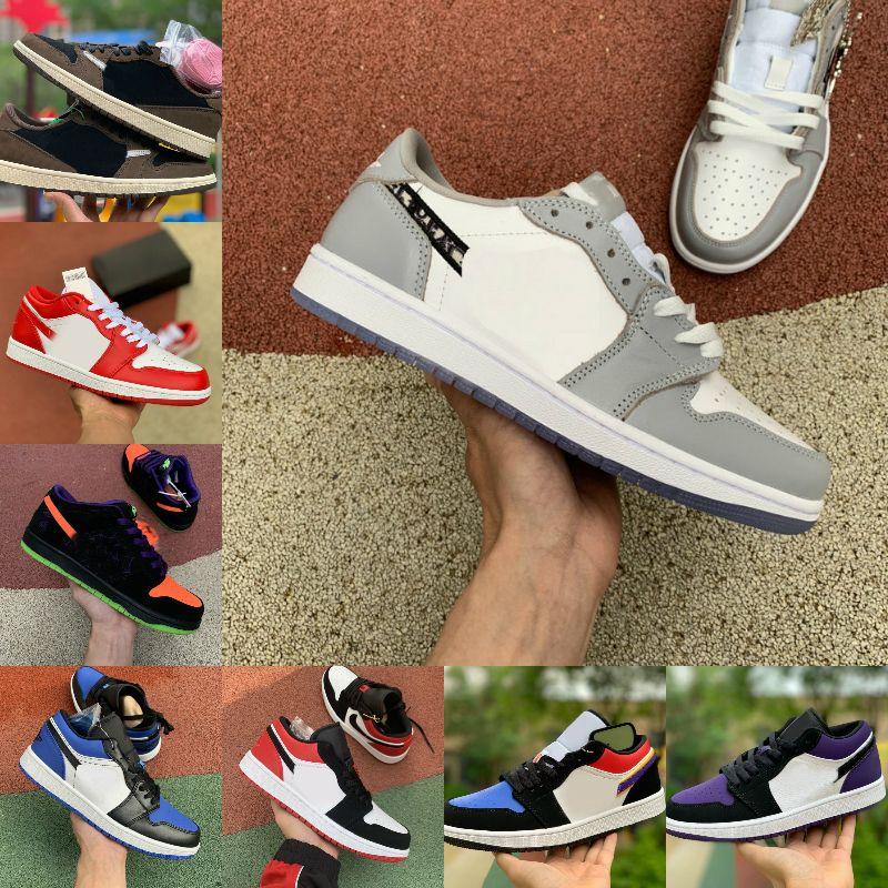 2020 Nike Air Jordan 1 retro jordans Low White grey x Travis UNC Parigi Obsidian Ember Glow Retroes Toe Bred 1s Scarpe Donna Dunk Skateboard