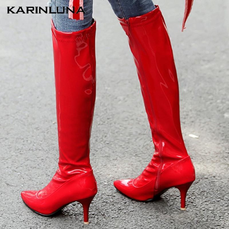 Karin Yeni İnce Yüksek Topuklar Toptan Artı 48 Beden Kış Ayakkabı Diz Yüksek Partisi Çizme Kadınlar