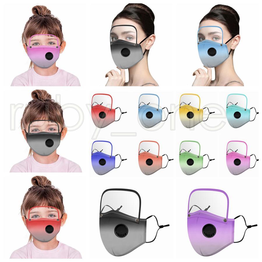2 in 1 Maschera viso con maschere removibile Clear Eye Shield colore gradiente antipolvere riutilizzabile in bicicletta Viso di protezione per i bambini di età RRA3554