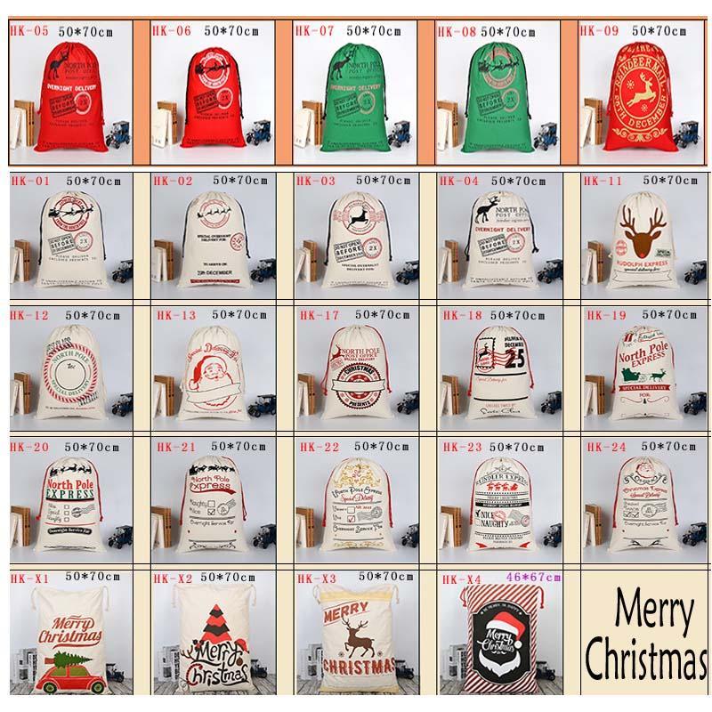 Christmas Gift Bags Groß Bio Schwere Leinentasche Sankt Sack Tragetasche mit Rentieren Weihnachtsmann-Sack-Beutel für Kinder 50 * 70cm