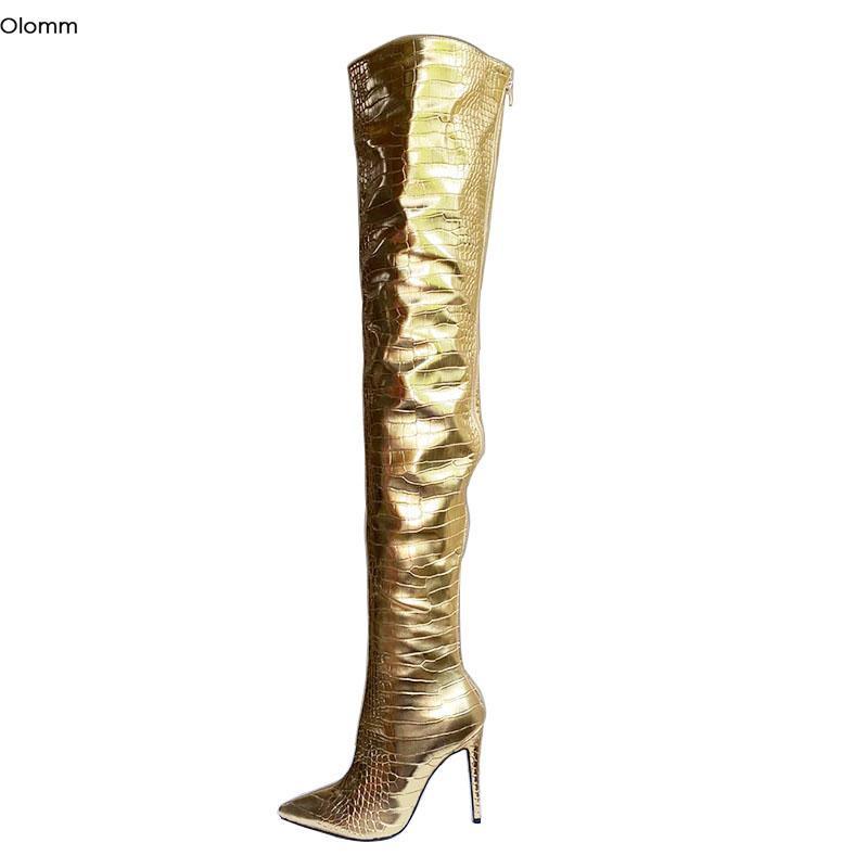 Stivali Olomm Donne Handmade Donne Coscia Alta Pietra Pattern Stiletto Tacchi a punta Punta Gorgeous Gold Night Club Shoes Dimensione US Dimensione 5-15