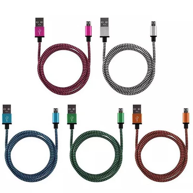 Mikro V8 USB Kablosu Veri Hattı Şarj Kabloları Android Akıllı Cep Telefonu Hızlı Şarj 3 ft 6 ft 10 ft için Veri Kablosu Çeşitli Renkler Örgülü