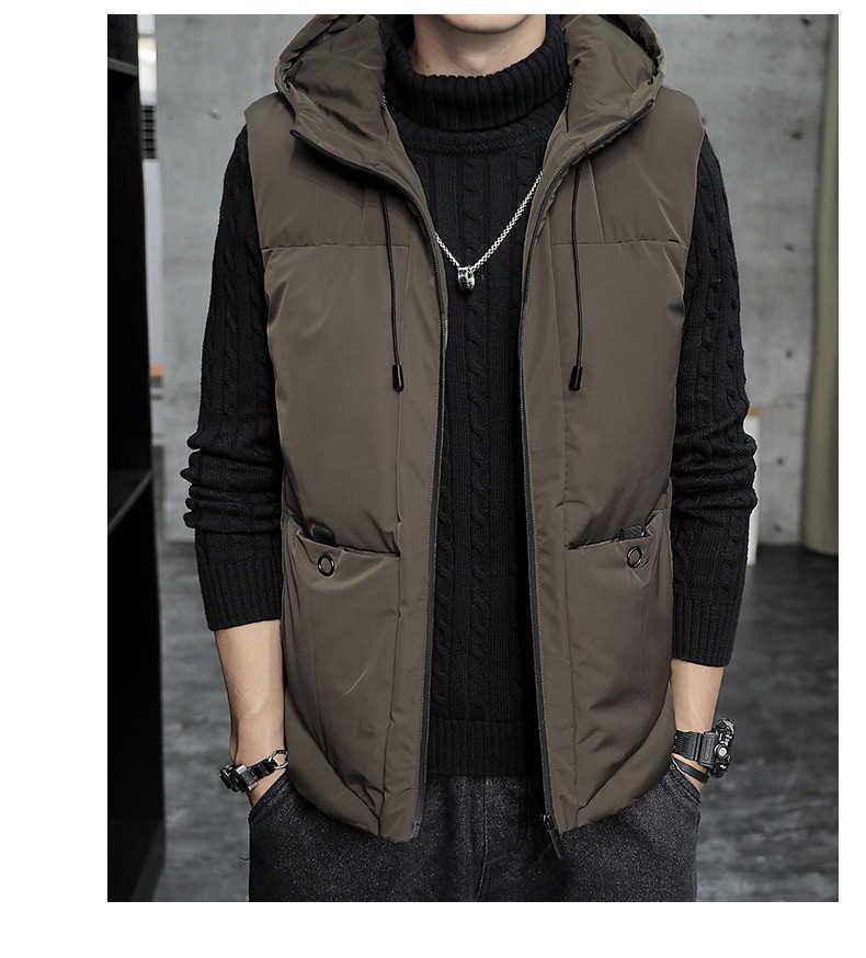 2020 Нового прибытия Mens Vest способ куртки зима Мужчина Толстый Keep Warm вниз жилет пальто вскользь безрукавки с капюшоном