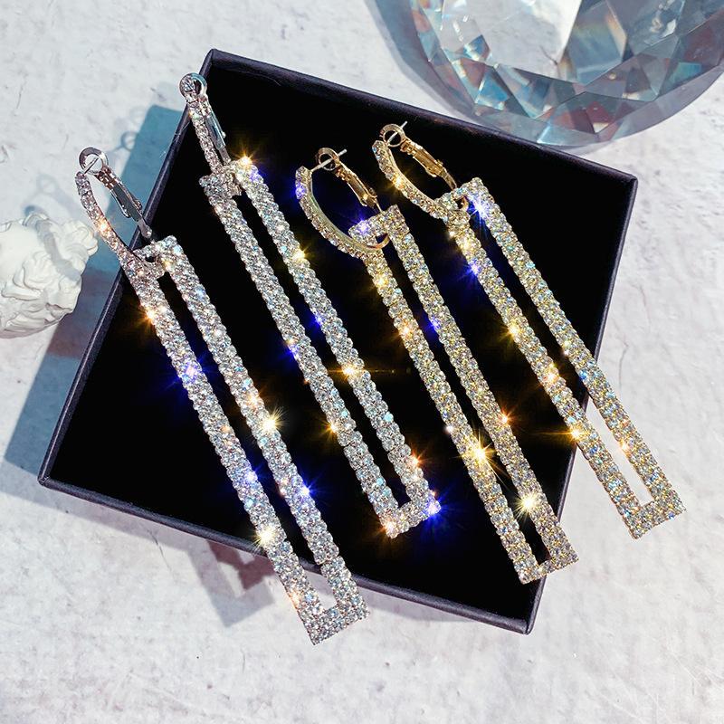 جديد أزياء كاملة أقراط الماس المرأة مزاجه طويل مربع حلقات الأذن مناسبة للحزب الزفاف والمجوهرات بالجملة والتجزئة