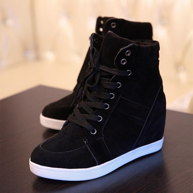 BJYL Primavera Mulheres Botas Faux Suede Wedge Plataforma Botas ocultos sapatos de salto alto-top sapatos casuais Mulher Botim B486