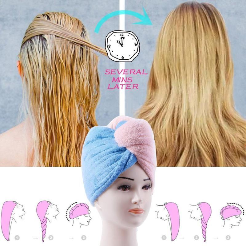 Новейшие Microfibre Hair Dailing Head Head Chanting Wrap Womens Сушилка Сухая Шляпа Быстрый После леди Полотенце Cap Turban Hair Tool Tools Guous