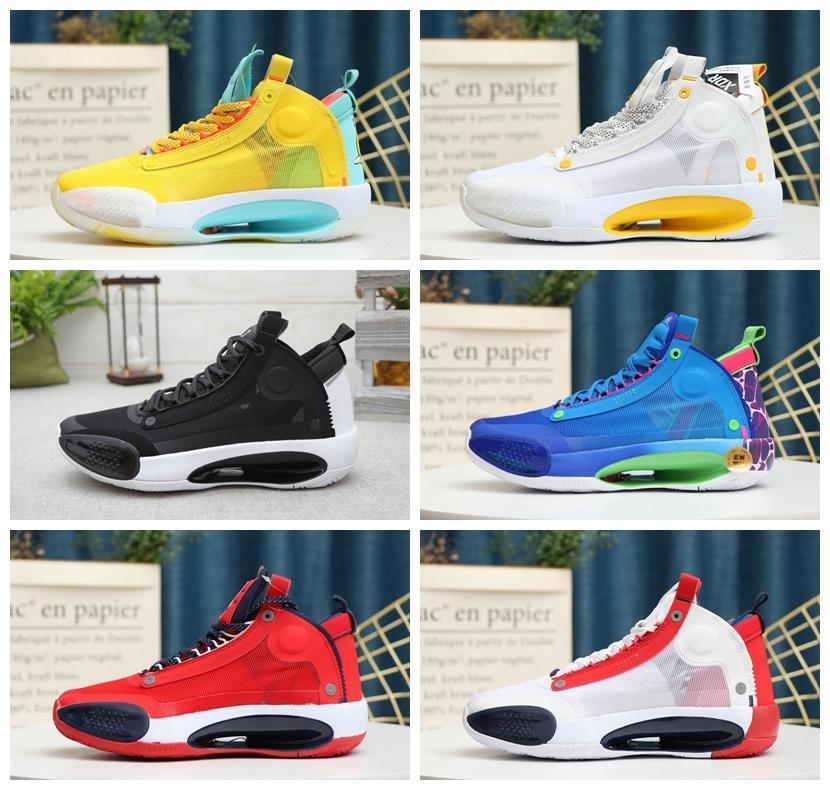 2020 새로운 Jumpman XXXIV 34 이클립스 블루 무효 그린 화이트 블랙 레드 남성 농구 신발 고품질 34S 남성 스포츠 스니커즈 크기 7-12