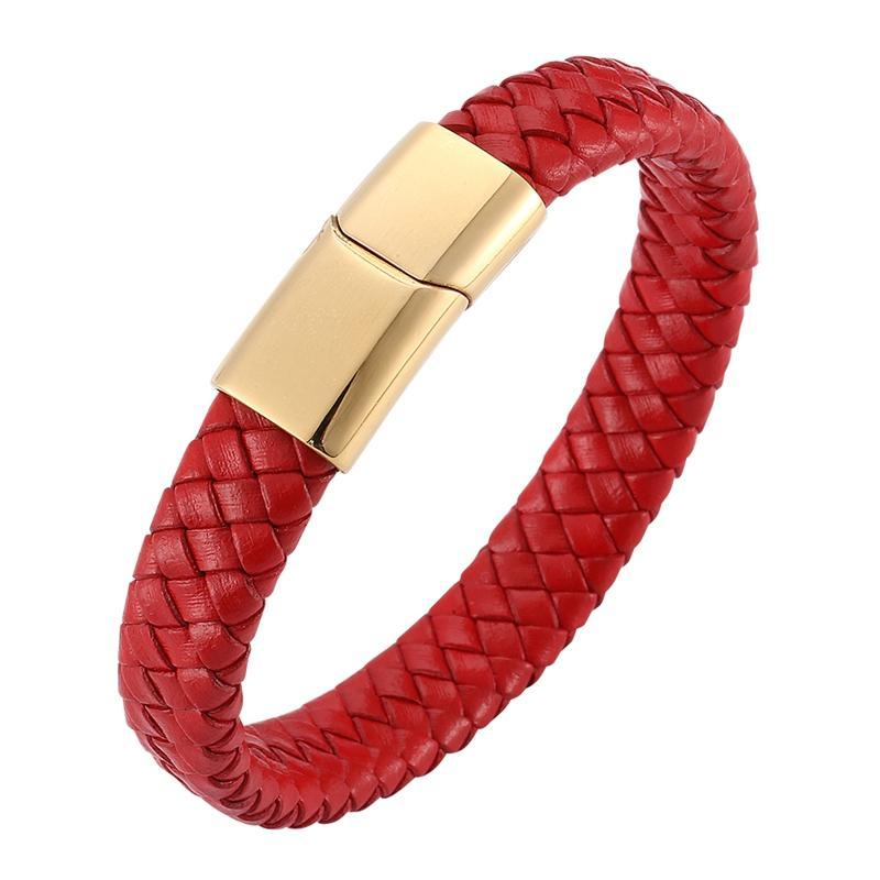 Moda Erkekler Kadınlar Takı Kırmızı Örgülü Deri Bileklik Altın Paslanmaz Çelik Manyetik Kapat Charm Bilezikler C0228