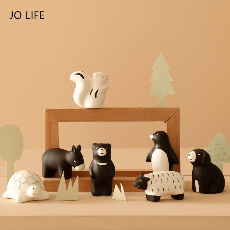 JO LIFE Ceramic Lovely Animal Table Garden Cute Toy Zoo Forest Miniature Figurines Desktop Statue Porcelain Home Decorations