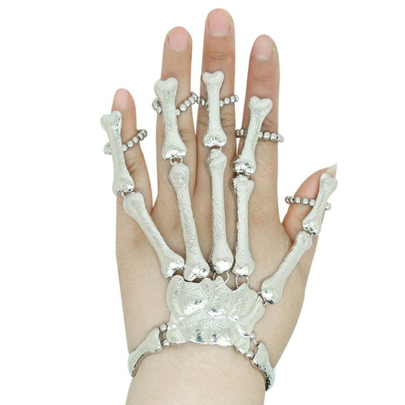 Halloween Halloween Ghost Festival Masquerade Funny Gloves Props Gifts Nightclub Party Punk Fingers Gothic Skull Gloves 9.6