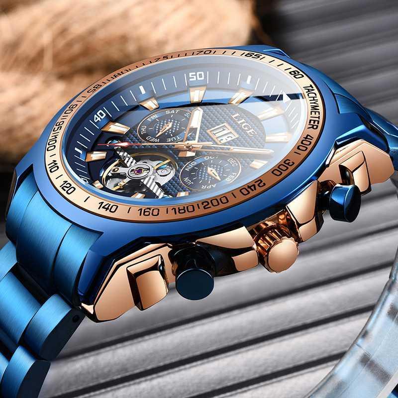 Montres-bracelets LIGE 2021 Blue Mode Mens Montres Top Hommes Mécanique Sport Étanche Sport Automatique Horloge automatique
