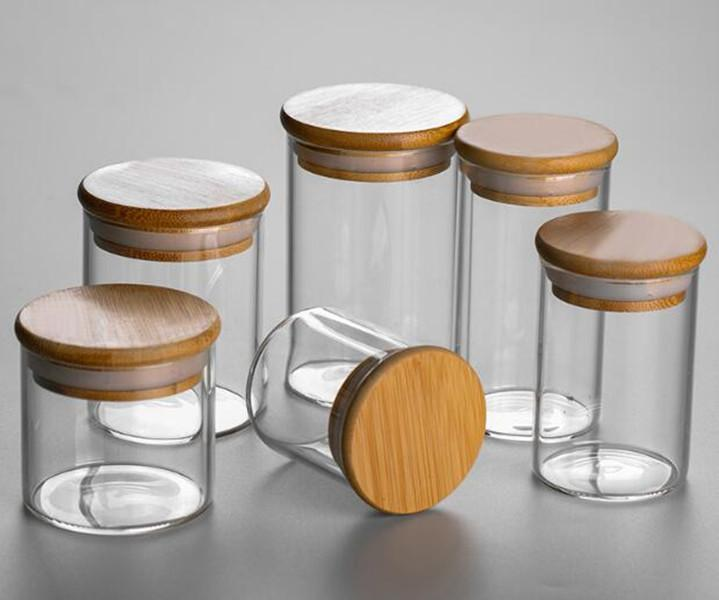 clara de almacenamiento de vidrio tapa superior de bambú recipiente hermético olor comida prueba seco almacenamiento vial de lados rectos de boca ancha 55 * 60/100/150 mm