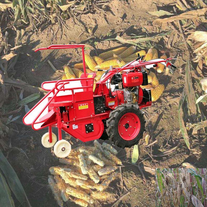 2020 El dizel motorlu mısır hasat makinesi kazayağı makinesi mısır samanı crushercorn biçerdöver mini mısır birleştirmek