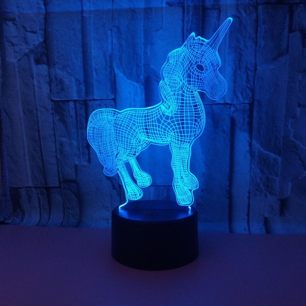 أدى الجديدة 3D أضواء اللمس الملونة التحكم عن بعد 3D LED ليلة الخفيفة اللمس الملونة يونيكورن 3D الجدول مصباح صغير