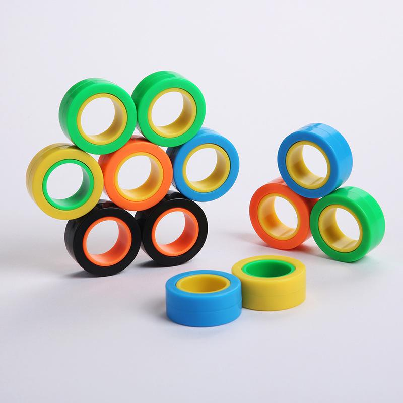 Magnetic Infinite Cube Decompression Toy Fidget Spinners Magnet Block Ring Finger Hand Table Toy Rotating Finger Gyro Character Focus Toy