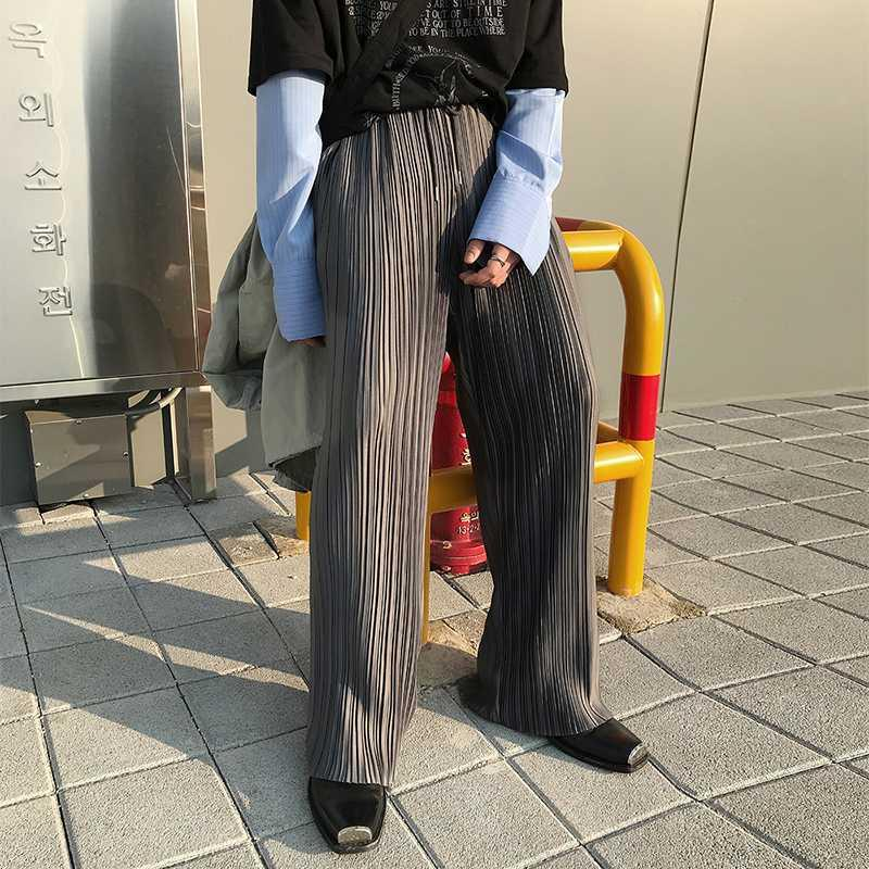 Hommes Folds Stripe Casual vrac Straigh Pantalon Homme Femme Couple Streetwear Hip Hop Vintage Fashion Pantalon large jambe Pantalons mi