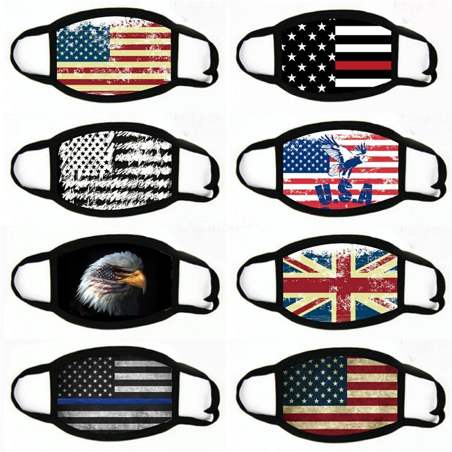 IN USA Amerika Bayrağı Kartal Baskı Maskeler Yıkanabilir Pamuk Yüz Maskeleri Nefes Resuable Kadınlar Man Moda Maske # 977