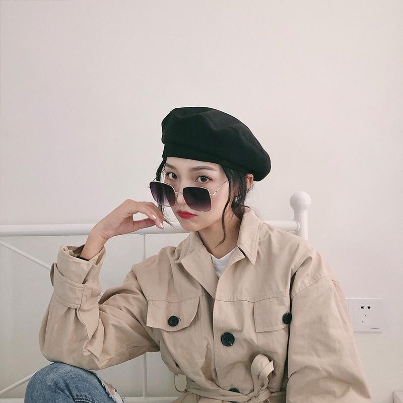 g1K2H Siyah kadın sonbahar ve kış düz renk şık Kore tarzı Beilei İngiliz şapka balkabağı Boyacı bere bere ressam şapka hepsi maç