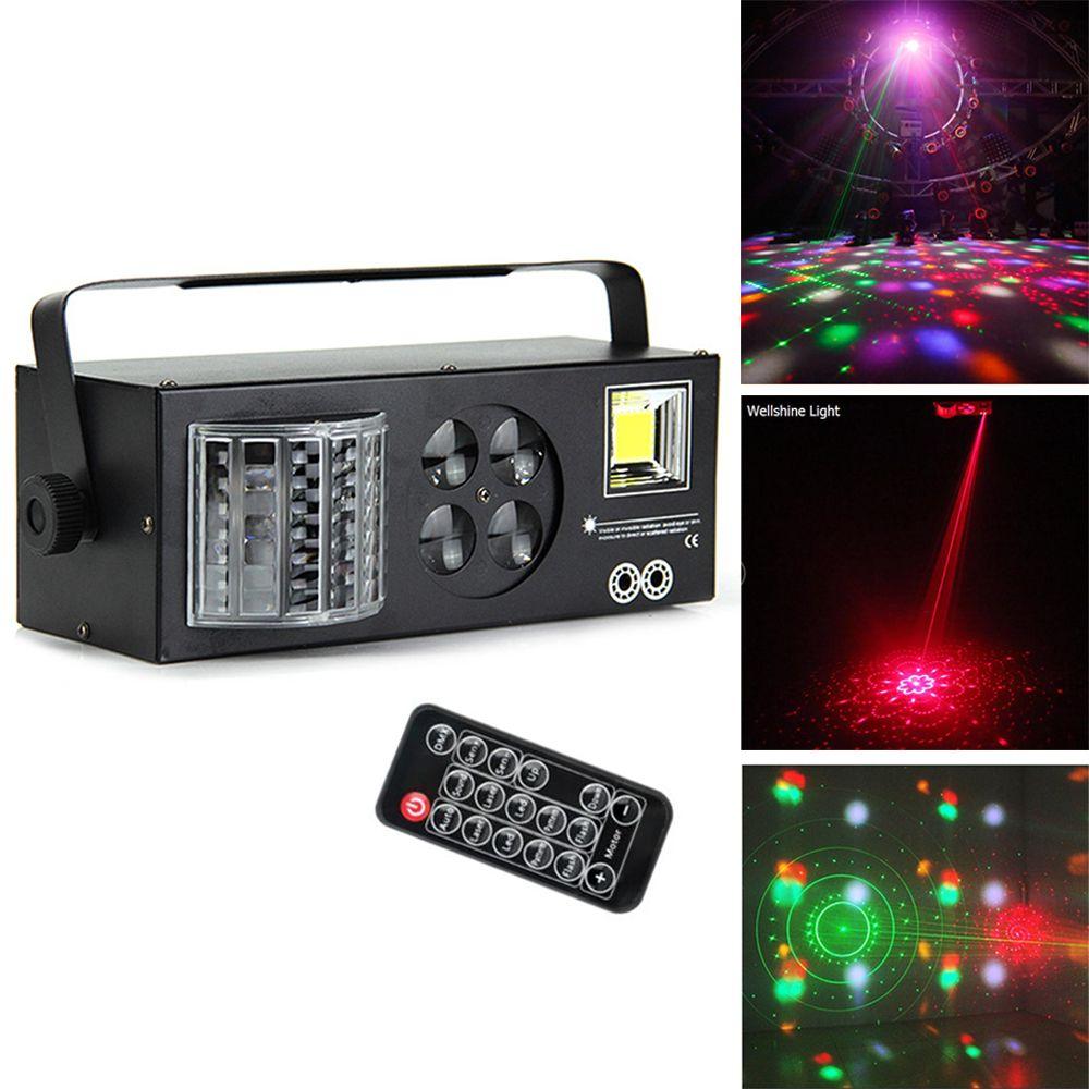 DJ معدات 4 in1 الليزر فلاش ستروب نمط فراشة ديربي dmx512 الصمام الإضاءة ديسكو dj المرحلة ضوء أربعة وظائف تأثير الإضاءة