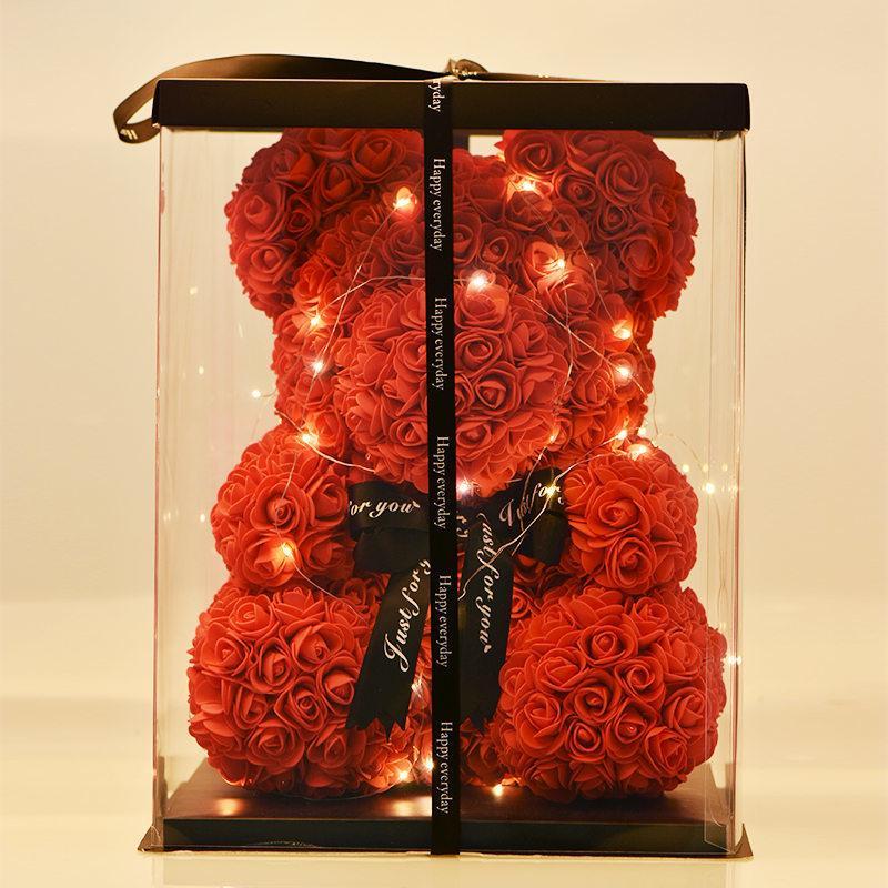 Encantador oso de rosas con caja de regalo LED Oso de peluche de peluche de espuma de espuma de jabón de rosa Regalos de Año Nuevo artificial para el regalo del día de San Valentín